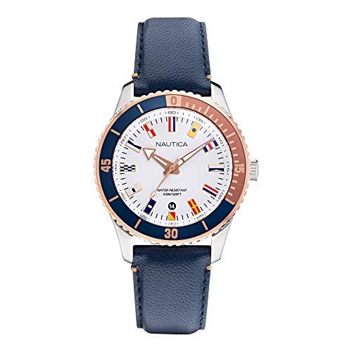 Nautica Correa de silicona de cuarzo de acero inoxidable para hombre, blanco, 22 reloj casual (Modelo: NAPPBS018)