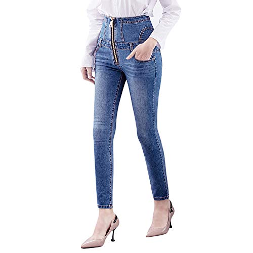 Jeans Dames Hoge Taille - BMEIG Skinny Stretch Slim Fit Push Up Dames Sexy Denim Broek Butt Lifting Leggings Potlood Jeggings Herfst Winter Blauw M-3XL