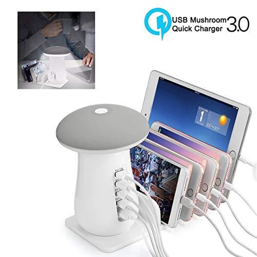 LED Home Bulb Stazione di Ricarica USB, Caricatore und Pilze Lampada von Tavolo A LED USB A 5 Porte, Tischlampe, wiederaufladbare Schreibtischlampe, Universal zum Aufladen von mehr Mobilgeräten, Ladeg