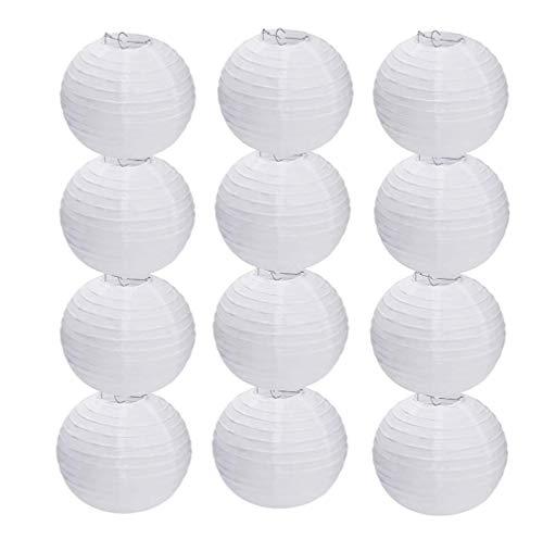 "Shuny 12 Piezas 12"" Linternas de Papel,Linternas de Papel,Farolillo Papel Redondo,para Boda Decoración (Blanco)"