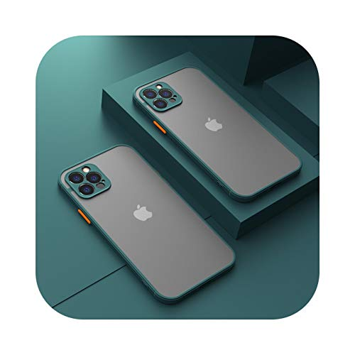 Funda protectora de cámara para iPhone 11 Pro Max 12 Mini 7 8 6 6S Plus XR X XS Max SE 2020 carcasa de silicona parachoques esmerilado cubierta verde oscuro para iPhone 11 Pro