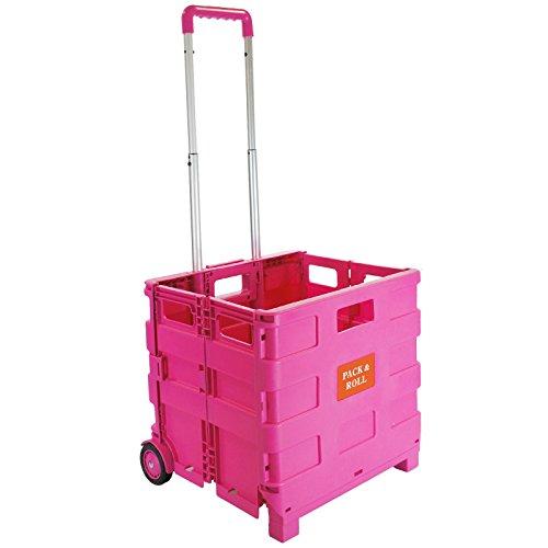 Carrito de compras plegable de plástico – Carro de libros para profesores – Caja de almacenamiento plegable con ruedas con mango de aluminio, rosa (Rosa) - L-144