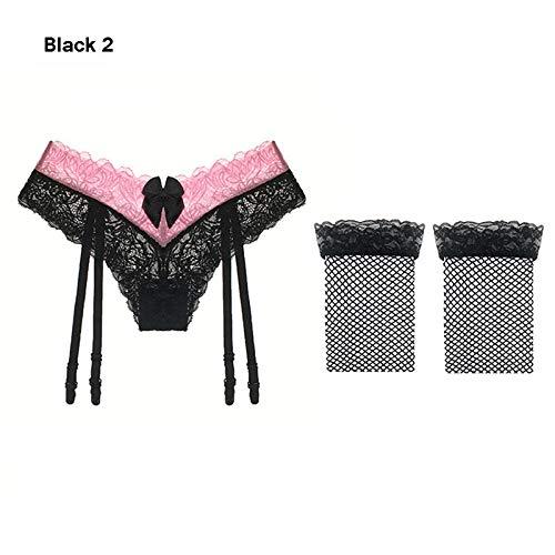 Lingerie & Intimo da donna Babydoll, Camicie da notte e Négligé 2 pezzi moda donna sexy reggicalze imposta bretelle camicette di pizzo trasparente reggicalze con le calze brace-Style_D_5