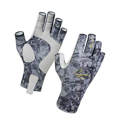 CRUSEA Fingerless Outdoor Gloves Sun Gloves UV Protection UPF50+Fishing Gloves Sun Protection Gloves Men Women for Kayaking, Fishing,Canoeing, Rowing, Hiking, Paddling, Driving, Cycling (Black, S/M)