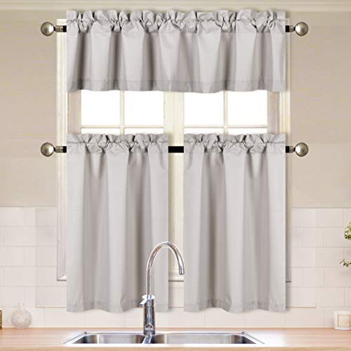 Better Home Style 3 Piece Solid Color 100% Blackout Kitchen Window Curtain Set with Tiers and Valance Solid Energy Efficient Thermal Room Darkening Drape Window Treatment # MKC (Light Grey / Silver)