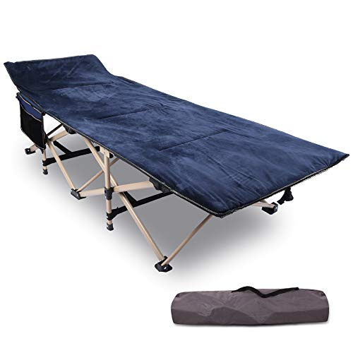 REDCAMP Folding Camping Cots for Adults with Mattress Pad, Soft and Comfortable for Outdoor Indoor Office Sleeping, Portable Heavy Duty Cots 500 Pounds, Blue (with Pad Topper)
