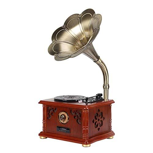 Carillon Ereditanza Vintage classico decorazione della casa retrò antico grammofono fonografo giradischi giradischi giocatore del vinile con supporto corno Funzione Bluetooth adatta per la decorazione