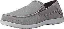 powerful Crocs Santa Cruz 2 Luxe Slipper for Men, Dark Gray / Light Gray, 14 M US