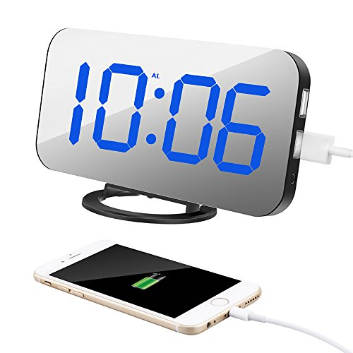 TISSA Upgraded Alarm Clock with Dual USB Port and Charger, 6.5' Large Number Digital Alarm Clock Mirror Led Table Clock with Adjustable Brightness, Big Snooze for Bedroom Living Room Decor