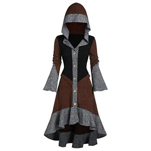 NPRADLA 2020 Mittelalter Umhang Damen Kapuze Einfarbig Elegant Frauen Trenchcoat Open Front Cardigan Jacke Mantel Cape Poncho Oversized