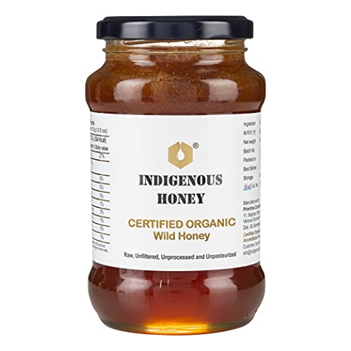 INDIGENOUS HONEY Raw Organic Honey NMR tested NPOP Organic Certified Pure Natural Unprocessed Original Honey - 530 Grams Glass Jar (Pack of 1)