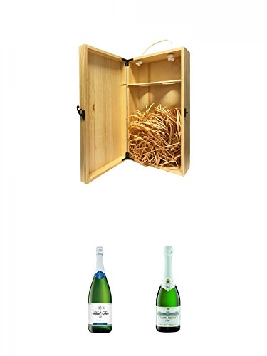 1a Whisky Holzbox für 2 Flaschen mit Hakenverschluss + Schloß Trier Sekt trocken Deutschland 0,75 Liter + Schloss Biebrich Sekt Deutschland 0,75 Liter
