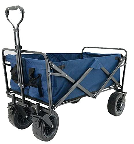 QDY -Carro Plegable Plegable para Exteriores con Ruedas Grandes Carro De Servicio Pesado Carro De Playa para Jardín, Compras, Camping Y Picnic,3 Blue