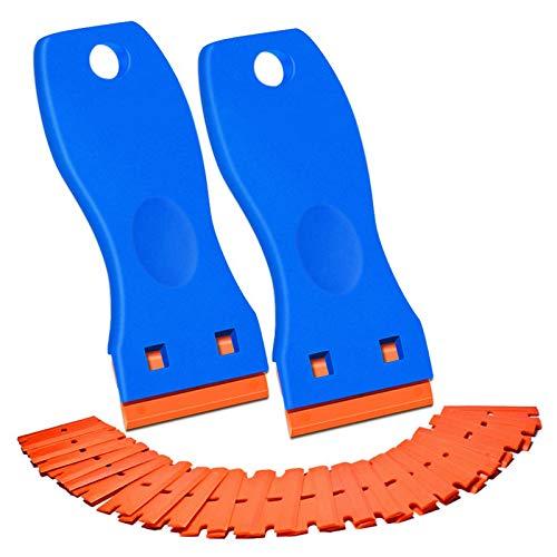 TPSKY 2PCS Plastic Razor Blade Scraper, Scraper Tool with 100 PCS Plastic Razor Blades, Decal Sticker Remover Scraper Tool,for Auto Window Tint Vinyl Tool Application, Easily Remove