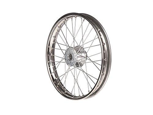 Speichenrad, 1,6x17 Zoll für Scheibenbremse (Nabe silber, Edelstahlfelge, Edelstahlspeichen) S51-S83