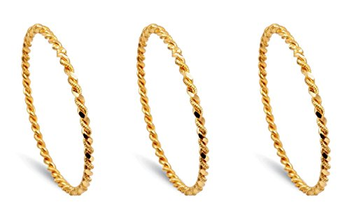 Bijou Karat 3 x Ikili Burma Bilezik 24 Karat vergoldet Gold GP 24 Ayar Altin Kaplama 0,5 cm 6,8 cm