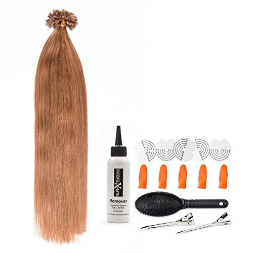 Honigblonde Keratin Bonding Extensions 100% Remy Echthaar Human Hair - 25x 1g 45cm Glatte Strähnen - Lange Haare mit Keratin Bondings U-Tip Haarverlängerung Haarverdichtung-Farbe:#27 Honigblond