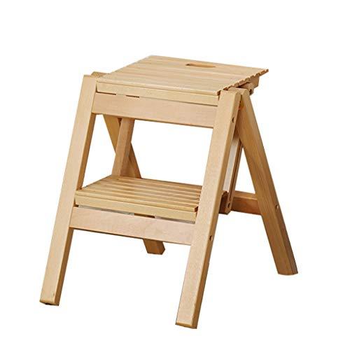 Stool Ladder- Tabouret pliant tabouret en bois massif portable petit banc simple mini tabouret Mazar, hauteur 45.8cm (Couleur : A)