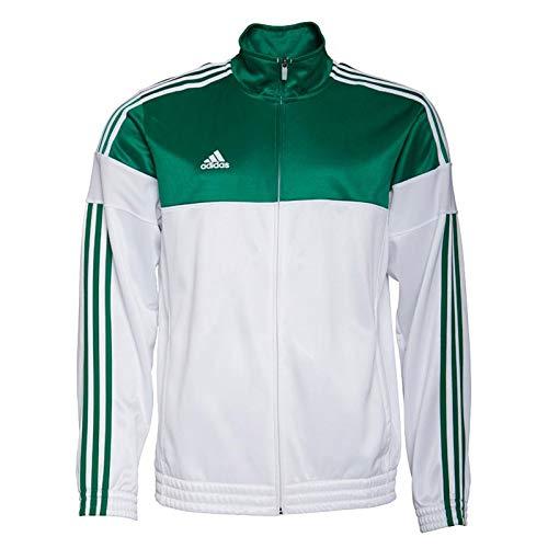 Chaqueta de calentamiento retro para hombre, 3 rayas, color blanco y verde Blanco y verde XX-Large