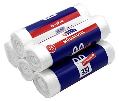 125 Müllbeutel/Mülltüten mit Tragegriff, 35 Liter, 25 Stück pro Rolle, Reißfest & Flüssigkeitsdicht, Produkt & Verpackung recyclebar (5er Pack)