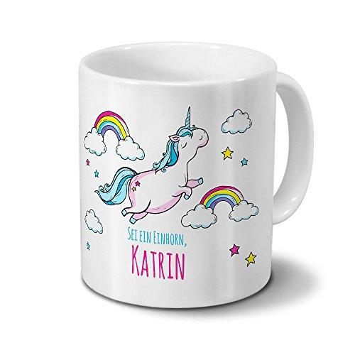 printplanet Tasse mit Namen Katrin - Motiv Dickes Einhorn - Namenstasse, Kaffeebecher, Mug, Becher, Kaffeetasse - Farbe Weiß