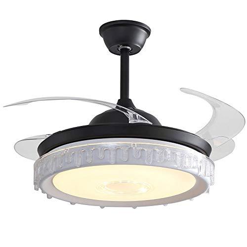 Ventilador de techo con iluminación LED Hogar de lujo de lujo Cristal negro Invisible Fan Blade Techo Avión de techo Luces Kindergarten Comedor Ventilador de techo Techo Colgante Luz de techo para dor