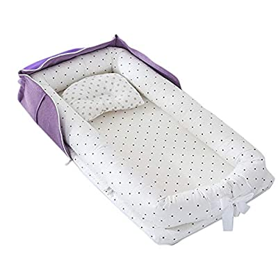 Abreeze Baby Bassinet for Bed Travel Beds -White Dots Baby Lounger -Co-Sleeping Cribs & Cradles with Bag- Cotton Portable Crib for Bedroom/Travel 0-24 Months