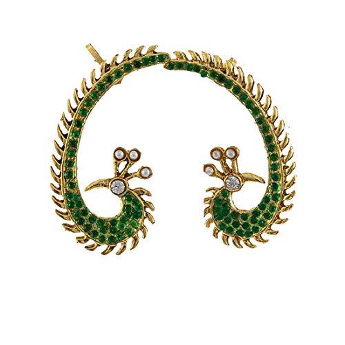 JewelryGift Fancy Peacock Earcuffs Gold Plated Emerald Stylish Fancy Indian Handmade Kundal Jewellery for Girls Women MY 68-GREEN