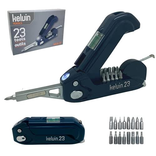 Kelvin Tools, Multi-Tool Set, 23 integrierte Werkzeuge; 16 Bit-Schraubendreher-Satz, Maßband, Wasserwaage und Hammer-Navy
