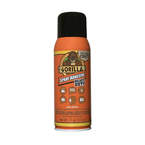 Gorilla Heavy Duty Spray Adhesive, Multipurpose and Repositionable, 11 ounce, Clear, (Pack of 1)