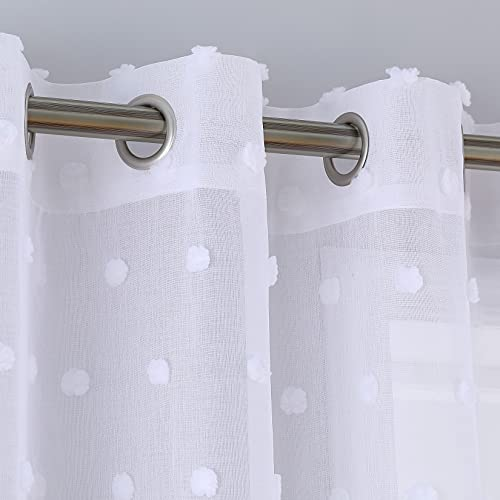 Caromio - Tende velate con pom, con occhielli per finestra, in voile, per soggiorno, camera da letto, 2 pannelli, 132,1 x 137,2 cm, colore: bianco