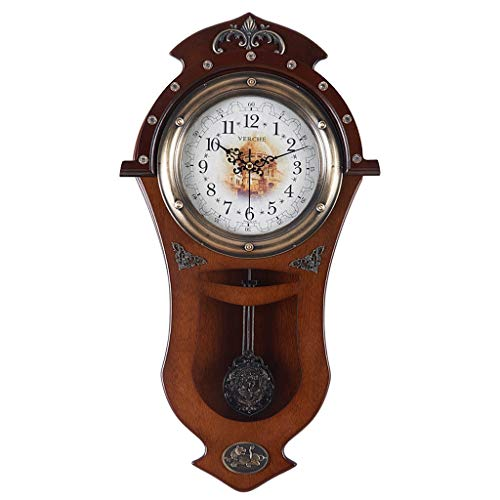 Archaize Europe Type Salon Calme Horloge Murale Son Originalité Vogue Rural Swing Horloge Grande Horloge En Bois Mur Mur Suspend Chambre Montre Murale