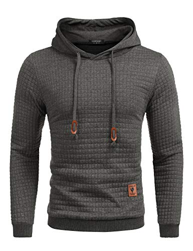 COOFANDY Men's Sweatshirt Hipster Gym Long Sleeve Drawstring Hooded Plaid Jacquard Pullover Hoodies(Dark Gray,M)