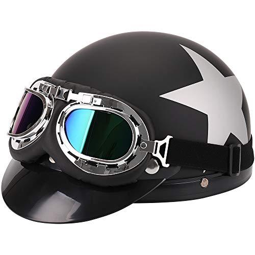 FREESOO Helm mit Schutzbrille für Motorradfahrer Kreuzer Roller Touren Helm ,  59-60cm