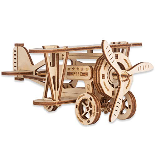 CANOPUS 3D Puzzle Avión de Madera, 3D Rompecabezas De Madera, 3D Wooden Puzzle, 3D Madera Puzzle, Juguetes educativos, acertijos, días Especiales y Regalo de cumpleaños para niños y Adultos