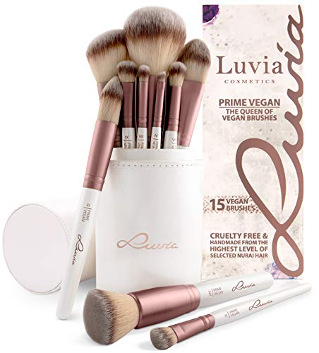 Pinselset Make-Up Von Luvia, Schminkpinsel Inkl. Edlem Pinselhalter & Satin Tasche Für Kosmetikpinsel, Beauty Brush Set Prime Vegan