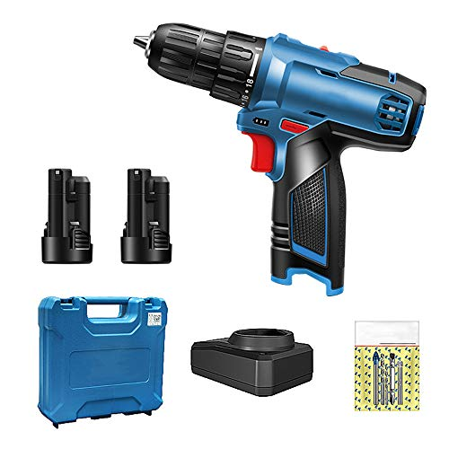 N/D Drill Set, Cordless Drill, with 2 Rechargeable 2000mAh Battery and Charger, Built-in LED, with Tool Case, for Wood Bricks Walls Metal, 4 Pcs Accessories