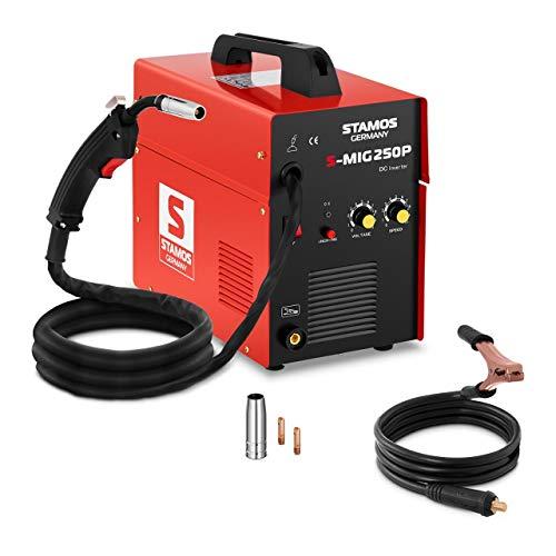 Stamos Germany S-MIG 250P Soldadora de Hilo Inverter Equipo de Soldadura MIG MAG (250A, 230 V, Ciclo de Trabajo 60{49fe313b69a2b94fcbd8888db74177d4bb14a4a010527b86551871bf8079c6b3}, 0,5mm-6mm, incl. Accesorios)