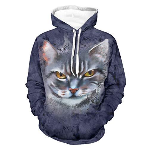 Ink Cat Face Sweatshirt Atmungsaktiv Komfort Hoodies mit Gabelung Kängurutasche für Herren Damen für den Alltag Schwarz M