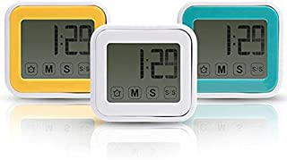 Flaito Digital Timer Waterproof Adsorption Clock, Suction Cup Clock, Touch Screen, No Ticking Sound, 3 Colors Available (Yellow)