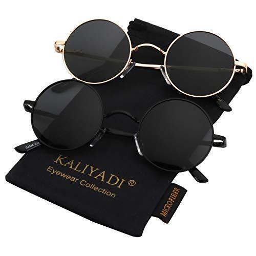 Round Polarized Sunglasses for Men Women Small Retro Metal John Lennon Style (2 Pack) 45mm