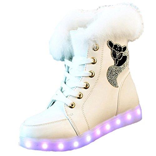 ON LED Schuh Bunte Schneeschuhe Schneestiefel USB Aufladen 7 Farbe Leuchtend Stiefel High-Top Freizeit Winter Schuhe für Unisex-Erwachsene Damen Mädchen