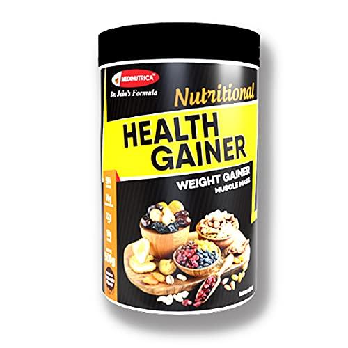 MEDINUTRICA Health Gainer / Muscle Mass Gainer / Gainer Supplement Weight Gain Formula ( 22 gm Fat , 31 Vitamins & Minerals , 10 gm Protein & Ayurvedic Herbs ) for Men & Women - 500 gms