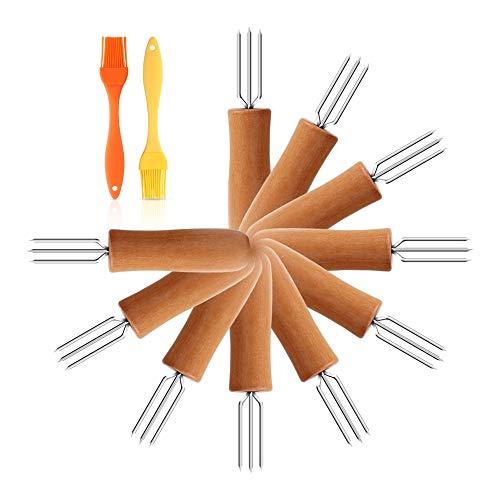 AUBBC - Soporte de maíz de Acero Inoxidable con Mango Largo de Madera de Roble y cepillos de Silicona para niños y Adultos, Cocina y Barbacoa en casa (4.5 Pulgadas/Juego de 12)