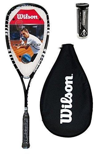 Wilson Hyper Hammer 120 PH Squashschläger + 3 Dunlop Squash Bälle - Schwarz + 3 Wettbewerb Bälle