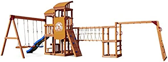 Little Tikes Real Wood Adventures Bobcat Ridge Backyard Playset Climb Swing Outdoor Activity Play Structure with Slide for Toddlers, Kids Climbers & Wooden Play Structures