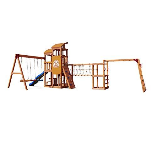 Little Tikes Real Wood Adventures Bobcat Ridge Spielset Klettern Schaukel Outdoor Aktivität Spielstruktur für Kleinkinder Kinder Indoor Kletterer & Spielstrukturen
