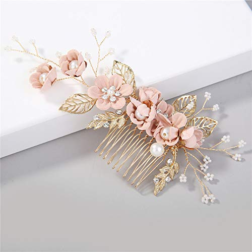 Children Artificial Flower Pearl Hair Clips Cute Floral Leaves Hairpin Hair Comb
