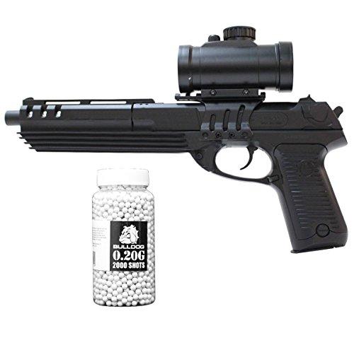 Double Eagle Softair Federdruck Pistole Desert Eagle Stil Airsoft Pistole, Unter 0.5 Joules, M39GL, GRATIS 2000 Bulldog BBS 0.20G (Schwarz)