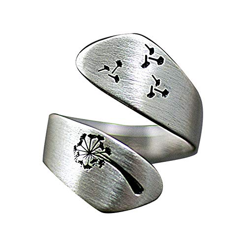 Moda ajustable grabado diente de león anillo para mujeres hombres personalidad apertura dedo anillos compromiso boda fiesta joyería